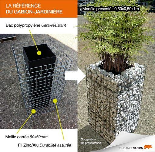 jardini re gabion 0 50m x 0 50m x 1m gabion d co d stockage. Black Bedroom Furniture Sets. Home Design Ideas