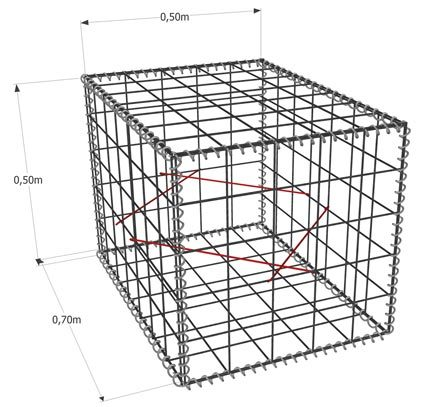 Gabion-Kit 6 Faces fil 4,5mm avec ligature spirale