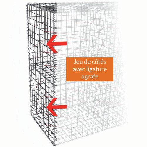 Jeu de côtés supplémentaires pour Gabion-Kit Optimized type clôture - mailles carrées - ligature agrafe